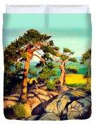 Pines On The Rocks Duvet Cover