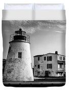 Piney Point Lighthouse - Mayland - Black And White Duvet Cover