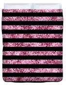 Pink And Black Glitter Sequin Stripes Duvet Cover