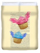 Pink And Blue Cupcakes Vintage Dictionary Art Duvet Cover