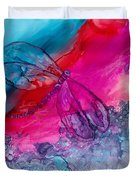 Pink And Blue Dragonflies Duvet Cover