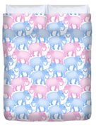 Pink And Blue Elephant Pattern Duvet Cover