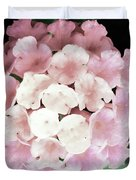 Pink And Green Blossoms Duvet Cover