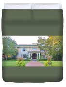 Pink And Green Mansion Duvet Cover