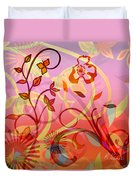 Pink And Purple Flower Medley Duvet Cover