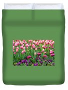Pink And Purple Tulips At The Spring Floriade Festival Duvet Cover