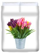 Pink And Violet  Tulips Duvet Cover