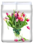Pink And Violet Tulips Bouquet  Duvet Cover