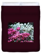 Pink And White Azelas Duvet Cover