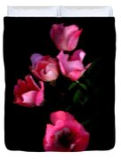 Pink And White Flowers On Black Duvet Cover