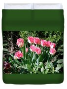 Pink And White Fringed Tulips Duvet Cover