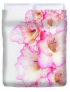 Pink And White Gladiola Duvet Cover