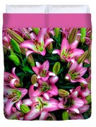 Pink And White Lilies Duvet Cover