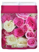 Pink And White Roses Bunch Duvet Cover