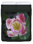 Pink And White Tulip Center Squared Duvet Cover