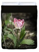 Pink And White Tulip Squared Duvet Cover