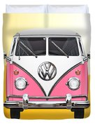 Pink And White Volkswagen T 1 Samba Bus On Yellow Duvet Cover by Serge Averbukh