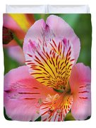 Pink And Yellow Flora Duvet Cover