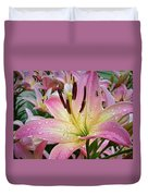 Pink And Yellow Mountain Lily Duvet Cover