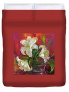 Pink Angel White Lilies Duvet Cover