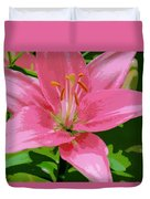 Pink Asiatic Lily Duvet Cover