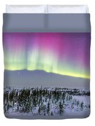 Pink Aurora Over Boreal Forest Duvet Cover