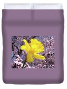 Pink Blossom Spring Trees Yellow Daffodil Flower Baslee Troutman Duvet Cover