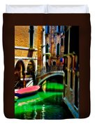 Pink Boat And Canal Duvet Cover
