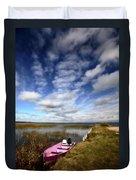 Pink Boat In Scenic Saskatchewan Duvet Cover