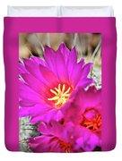 Pink Cacti Flowers Duvet Cover