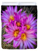 Pink Cactus Flowers Square  Duvet Cover