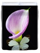 Pink Calla Lily With White Butterfly Duvet Cover