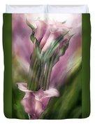 Pink Callas In Calla Vase Duvet Cover