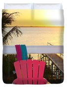 Pink Chair In The Keys Duvet Cover
