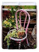 Pink Chair Planter Duvet Cover