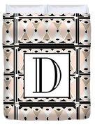 Pink Champagne Deco Monogram  D Duvet Cover
