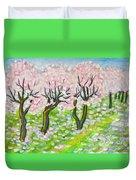 Pink Cherry Garden In Blossom Duvet Cover