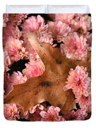 Pink Chrysanthemums With Pin Oak Leaf Duvet Cover