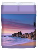 Pink Clouds And Rocky Headland Seascape Duvet Cover