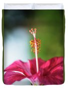 Pink Colored Hibiscus Closeup Image Duvet Cover