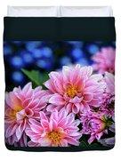Pink Dahlias On Lobelia Duvet Cover