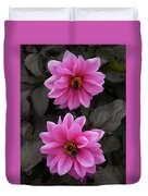 Pink Dahlias With Bees Duvet Cover