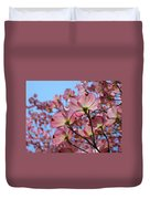 Pink Dogwood Flowers Landscape 11 Blue Sky Botanical Artwork Baslee Troutman Duvet Cover