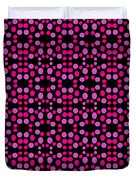 Pink Dots Pattern On Black Duvet Cover