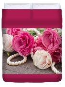 Pink Eustoma Flowers  Duvet Cover