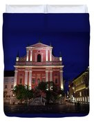 Pink Facade Of Franciscan Church Of The Annunciation Next To Urb Duvet Cover