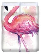 Pink Flamingo Watercolor Tropical Bird Duvet Cover by Olga Shvartsur