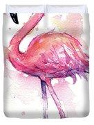 Pink Flamingo Watercolor Tropical Bird Duvet Cover
