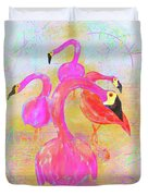 Pink Flamingos In The Park Duvet Cover
