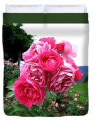 Pink Floribunda Roses Duvet Cover